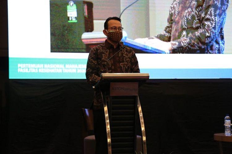 Fachmi saat menghadiri kegiatan pertemuan daring dengan manajemen faskes seluruh Indonesia, Rabu (14/10/2020).