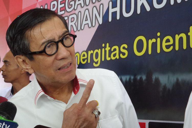 Menteri Hukum dan HAM Yasonna H Laoly saat ditemui di Balai Kartini, Jakarta Selatan, Senin (22/1/2018).