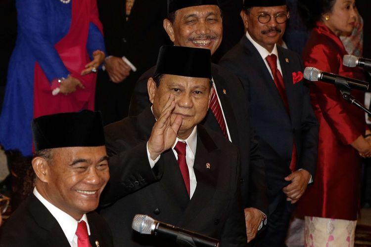 Menteri Pertahanan, Prabowo Subianto saat pelantikan menteri-menteri Kabinet Indonesia Maju di Istana Negara, Jakarta, Rabu (23/10/2019). Presiden RI Joko Widodo mengumumkan dan melantik menteri-menteri Kabinet Indonesia Maju.
