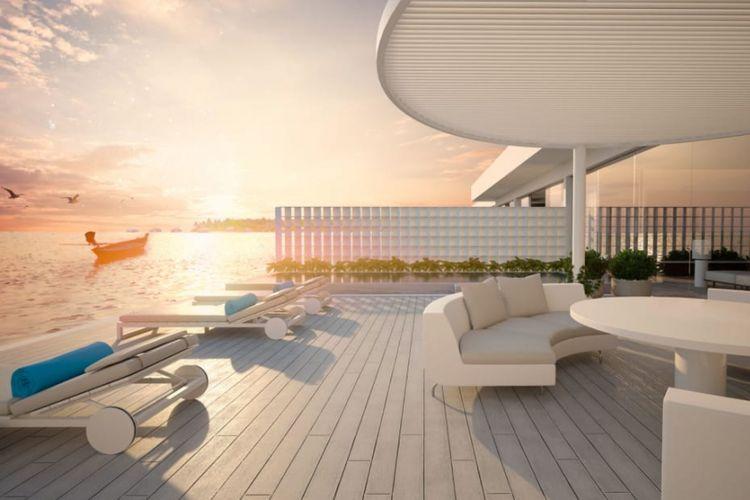 Balkon santai di atas permukaan laut Muraka yang dibangun oleh Conrad Maldives Rangali di Maldives. Pembangunan vila hotel dengan kamar di bawah laut Samudera Hindia tersebut diklaim akan menjadi yang pertama di dunia.