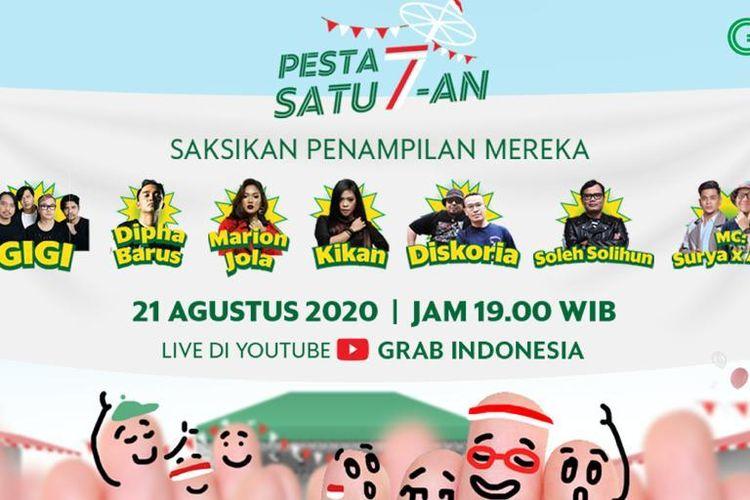 Konser virtual digelar oleh Grab Indonesia. Pengguna aplikasi Grab bisa mendapatkan tiketnya dengan mengikuti lomba panjat pinang virtual.