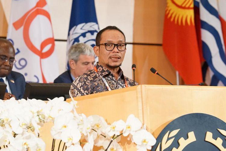 Menteri Ketenagakerjaan M. Hanif Dhakiri sebagai perwakilan Indonesia menyampaikan, deklarasi ini menuntut semua negara untuk memperkuat kerja sama dalam menghadapi tantangan kerja masa depan, Jumat (21/6/2019)