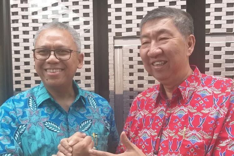 Calon Ketua Umum (Caketum) DPP REI periode 2019-2022, Totok Lusida, bersama Ketua DPD REI DKI Jakarta Amran Nukman.