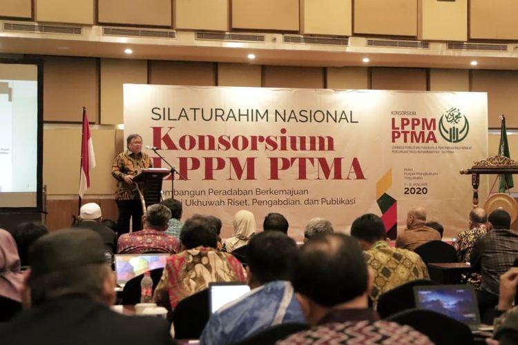 Menristek Bambang pada Silaturahim Nasional Konsorsium LPPM PTMA di Yogyakarta, Selasa (7/1/2020).