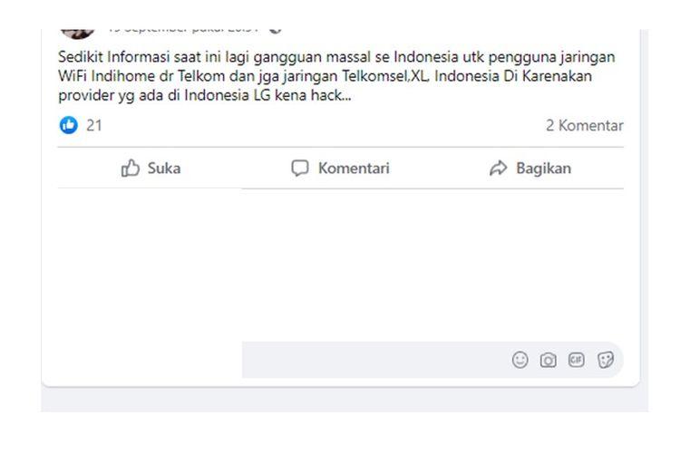 Unggahan hoaks gangguan jaringan provider di Indonesia karena hack