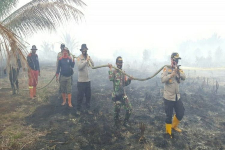 Petugas kepolisian dan TNI saat memadamkan titik api karhutla di wilayah Kabupaten Pelalawan, Riau, Kamis (18/2/2021).