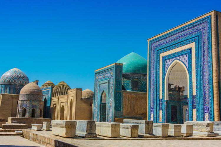 Shah-i-Zinda, nekropolis di Samarkand, Uzbekistan.