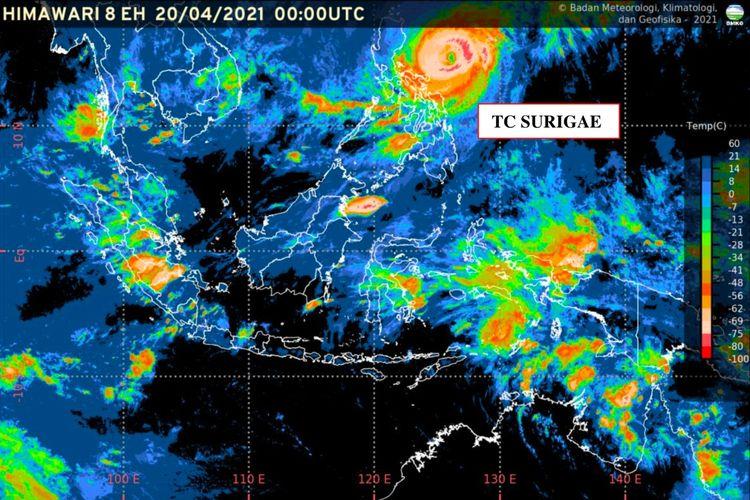Siklon tropis Surigae yag terpantau pada 20 April 2021 pukul 07.00 WIB.