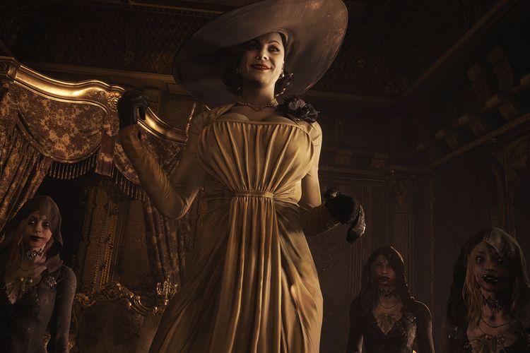 Sosok karakter Lady Dimitrescu bersama tiga orang anaknya dalam game Resident Evil Village.