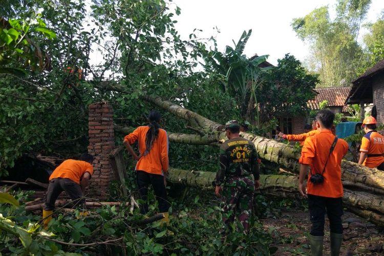 POTONG POHON --Tim Badan Penanggulangan Bencana Daerah Kabupaten Magetan bersama aparat dan warga memotong pohon yang tumbang menimpa rumah warga, Minggu ( 5/3/2017).