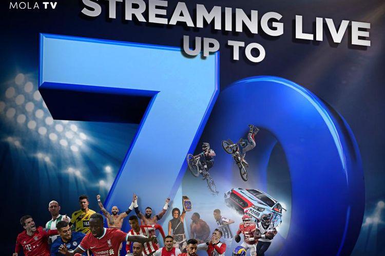 Mola TV menayangkan lebih dari 70 siaran langsung pertandingan olahraga dalam seminggu.