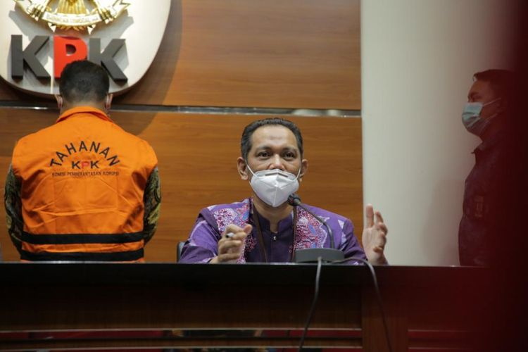 Wakil Ketua KPK Nurul Ghufron dalam konferensi pers penahanan Kepala Subdirektorat Kerja Sama dan Dukungan Pemeriksaan pada Direktorat Jenderal Pajak, Dadan Ramdani pada Jumat (13/8/2021).