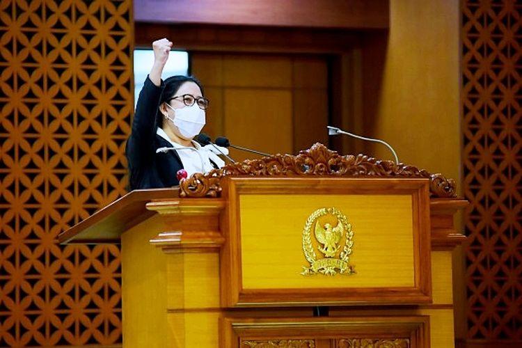 Pidato Pembukaan Masa Persidangan IV Tahun Sidang 2020-2021 oleh Ketua DPR RI Puan Maharani di Ruang Rapat Paripurna DPR RI, Gedung Nusantara II, Senayan, Jakarta, Senin (8/3/2021).