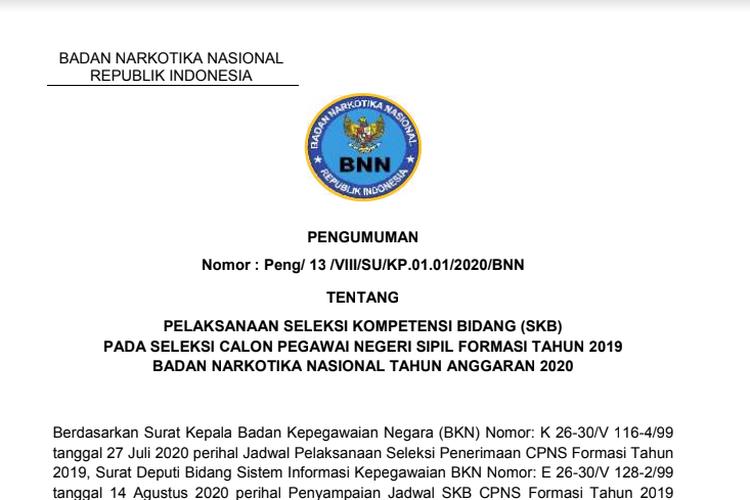 Tangkapan layar pengumuman jadwal pelaksanaan SKB CPNS 2019 BNN.
