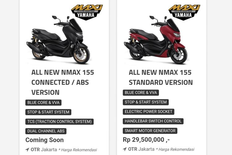 Harga All New NMAX Connected/ABS Version masih belum keluar.
