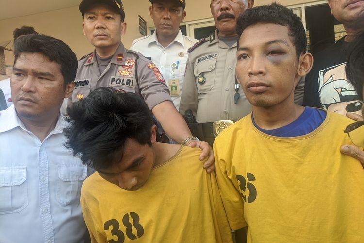 dua orang jambret yang diamankan Polres Metro Jakarta Utara yang mengincar penumpang taksi dan ojek online