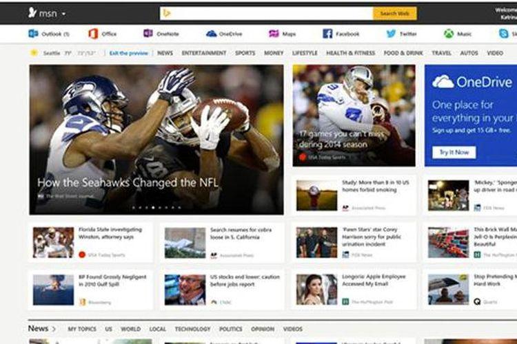 Tampilan halaman MSN.com milik Microsoft.