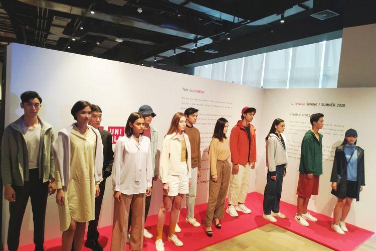 UNIQLO rilis koleksi Spring/Summer 2020, yang hadir dalam tiga kategori, yaitu Outdoors, Work & Craft, dan Art & Design, di Alila SCBD, Jakarta (21/1/2020).