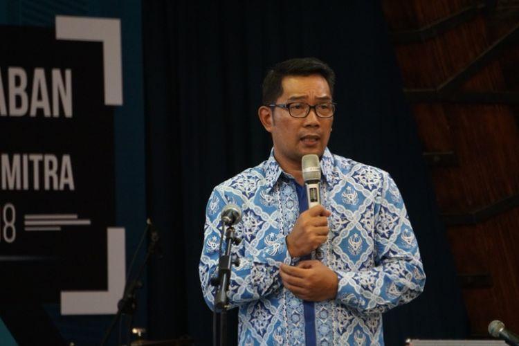 Wali Kota Bandung Ridwan Kamil saat menjadi pembicara dalam kegiatan Dies Natalis ke-59 ITN di Aula Barat ITB, Jalan Tamansari, Sabtu (3/3/2018).