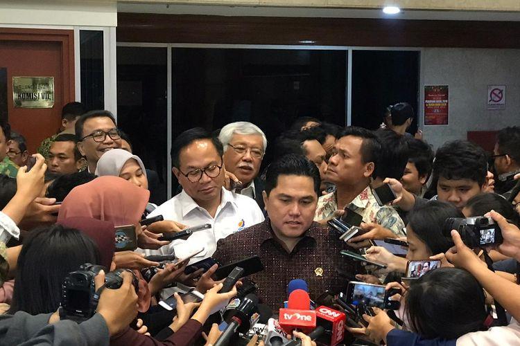 Menteri BUMN Erick Thohir usai rapat dengan Komisi VI DPR RI, Rabu (29/1/2020).