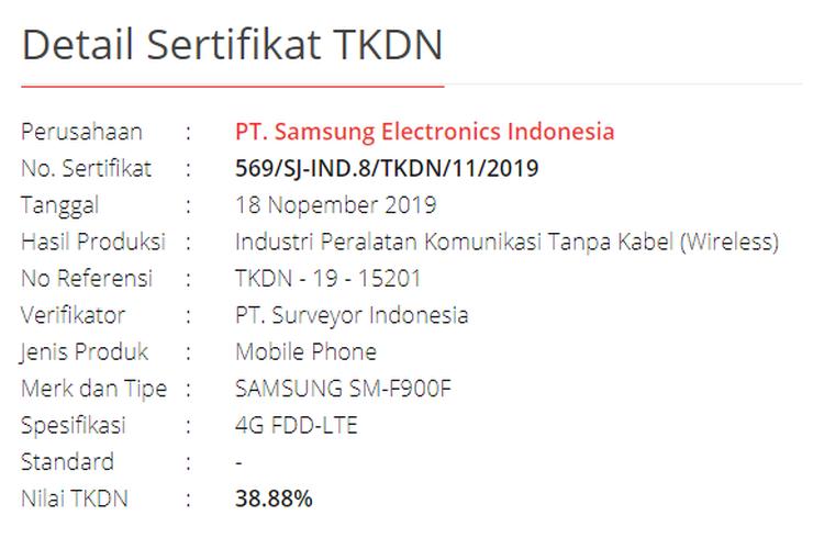 Sertifikat TKDN Samsung Galaxy Fold.