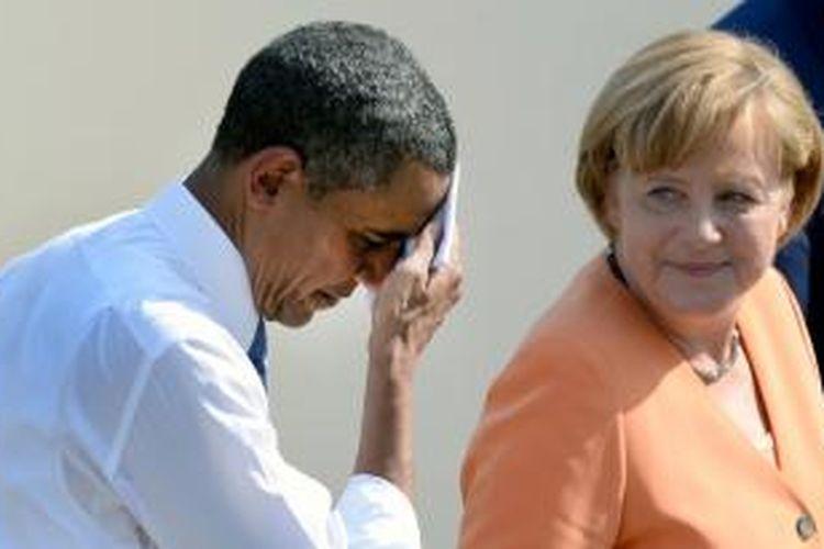 Presiden Barack Obama dan Kanselir Angela Merkel.