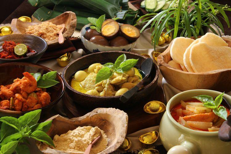 Ilustrasi lontong cap go meh, kuliner peranakan Tionghoa-Indonesia.