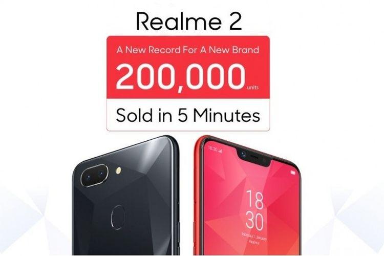 Realme 2 ludes 200.000 unit dalam waktu lima menit
