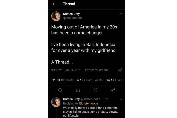 Tangkapan layar thread Kristen Gray yang viral di Twitter.