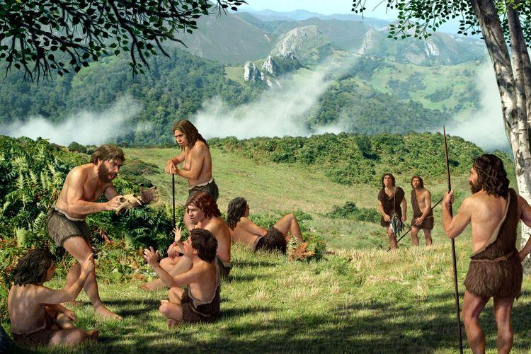 Ilustrasi kehidupan pada Zaman Paleolitikum