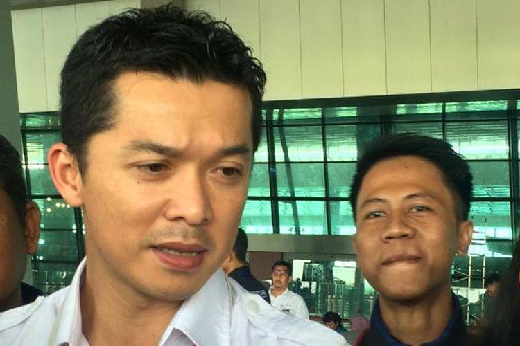 Taufik Hidayat saat diwawancarai di teras T3 Bandara Soekarno-Hatta, Tangerang, Banten, Selasa (23/8/2016).