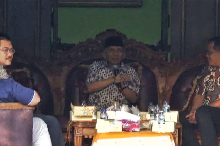Amien Rais saat bertemu dengan Pengurus DPW PAN Jawa Tengah di kediamanya Jalan Pandean Sari, Condong Catur, Kecamatan Depok, Kabupaten Sleman