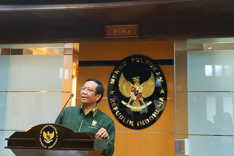 Menko Polhukam Mahfud MD di Kantor Kemenko Polhukam, Jakarta Pusat, Jumat  (28/2/2020).