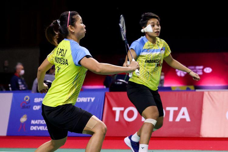 Aksi ganda putri Indonesia, Greysia Polii/Apriyani Rahayu, di ajang Toyota Thailand Open 2021.
