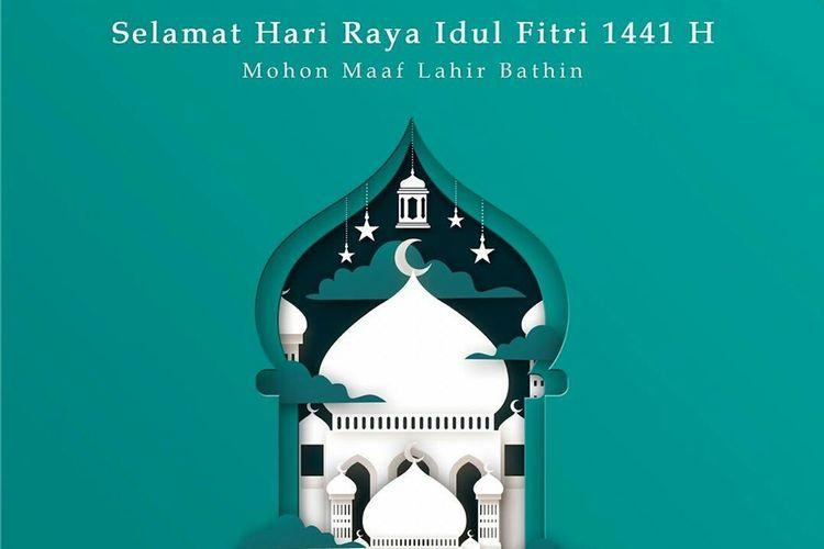 Desain kartu ucapan Hari Raya Idul Fitri milik Persebaya Surabaya yang dipublish di Instagramnya.
