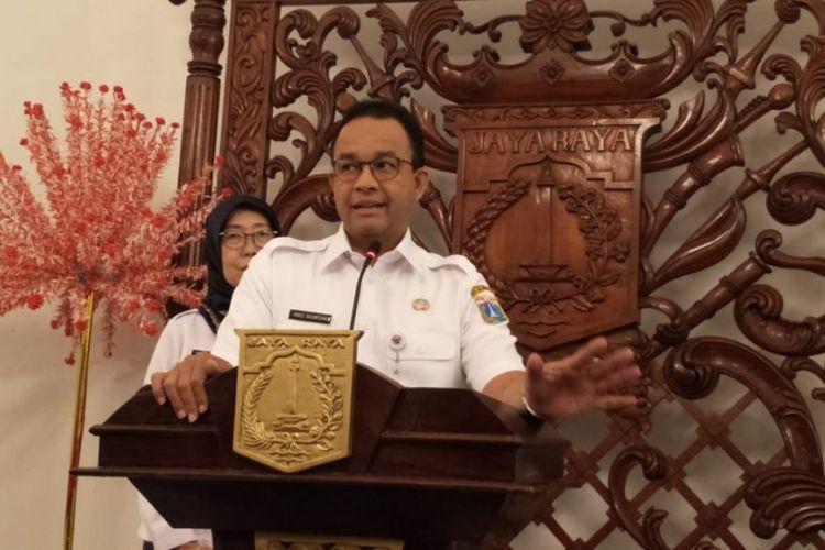 Gubernur DKI Jakarta Anies Baswedan di Balai Kota DKI Jakarta, Jalan Medan Merdeka Selatan, Rabu (30/1/2019).