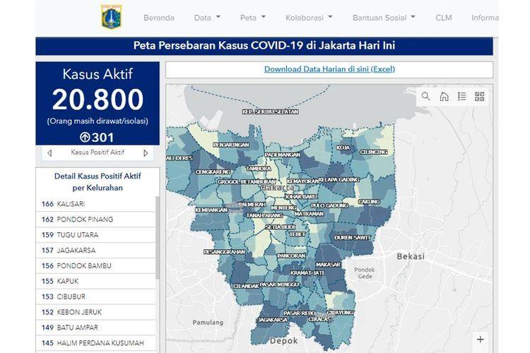 Tangkapan layar peta persebaran kasus Covid-19 di DKI Jakarta.