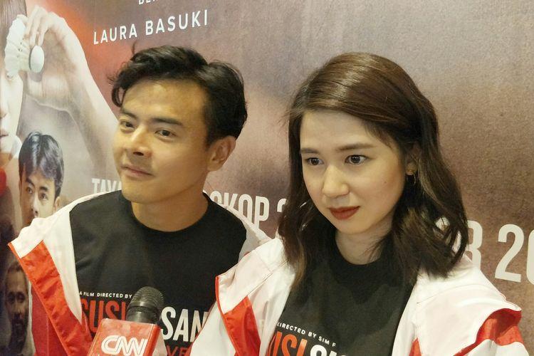 Artis peran Laura Basuki dan rekan seprofesinya Dion Wiyoko dalam jumpa pers di Metropole XXI, Jakarta Pusat, Rabu (18/9/2019).