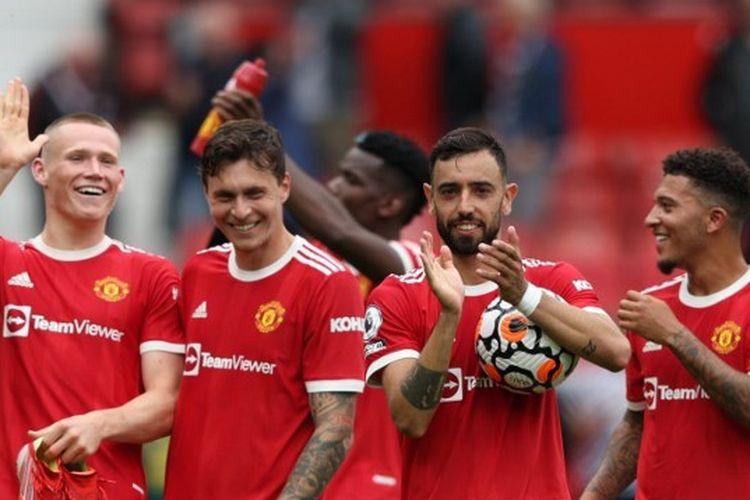 Skuad Manchester United setelah memastikan kemenangan atas Leeds United pada pekan perdana Liga Inggris musim 2021-2022.