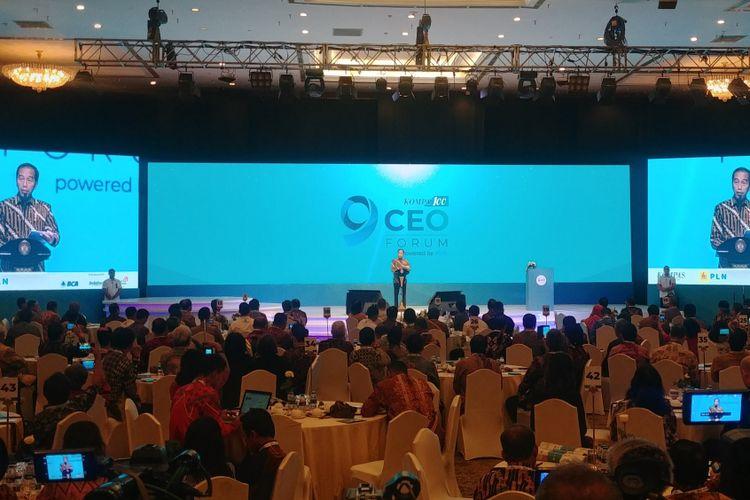 Presiden Joko Widodo saat berpidato di Kompas 100 CEO Forum, di JCC, Jakarta, Selasa (27/11/2018).