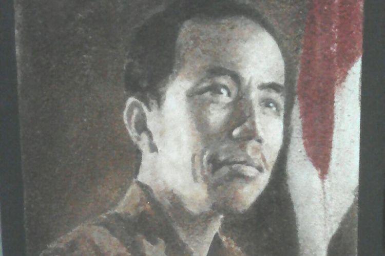 Inilah salah satu lukisan serbuk kayu Presiden Jokowi milik Sutrisno, seniman asal Kota Solo, Jawa Tengah.