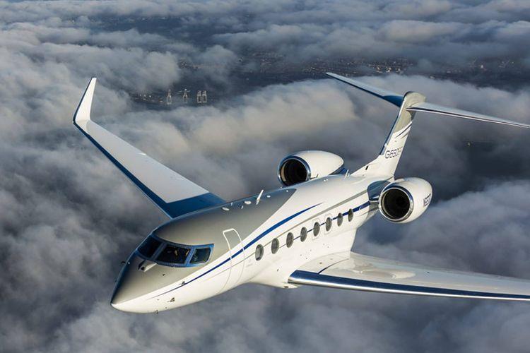 Ilustrasi pesawat jet pribadi Gulfstream.