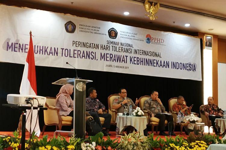 Ketua Satgas Nusantara yang juga Kapolda Metro Jaya Irjen (Pol) Gatot Eddy Pramono, saat mengisi diskusi di Grand Sahid Jaya, Sudirman, Jakarta Pusat, Jumat (15/11/2019).  Ia mengungkapkan tiga hal penyebab intolerasi di Indonesia.