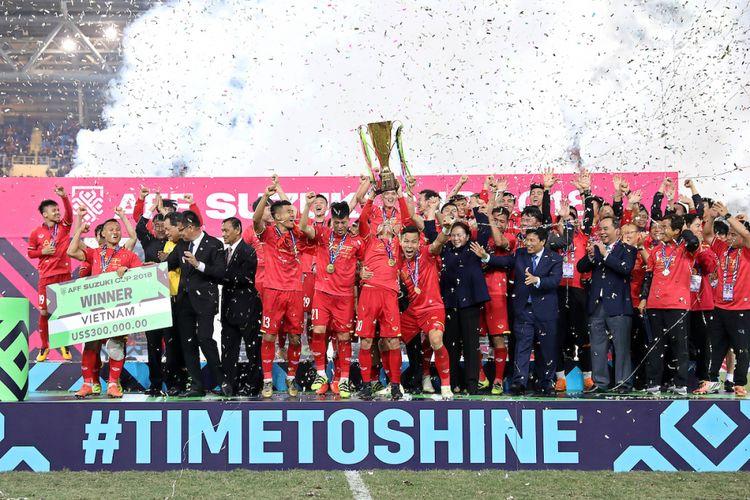 Vietnam berhasil menjadi juara Piala AFF 2018 seusai unggul agregat atas Malaysia pada laga final, 15 Desember 2018.