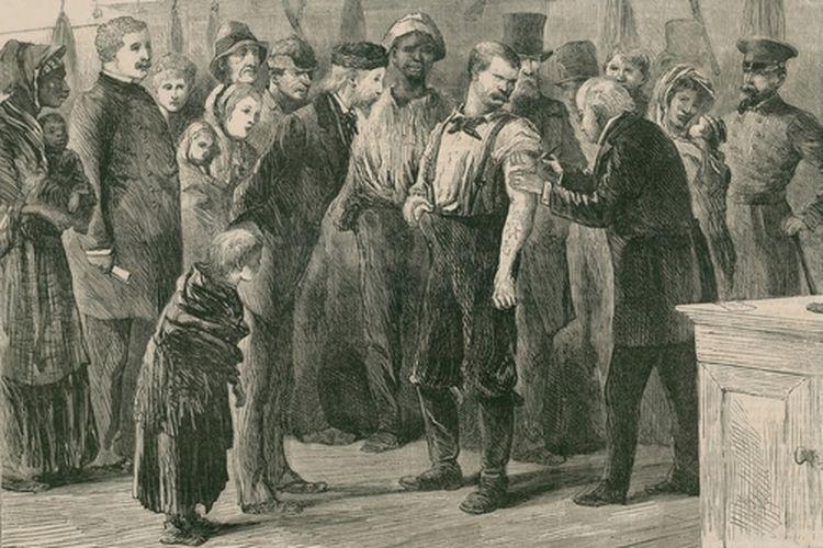 Pemberian vaksin masal pertama kali di New York