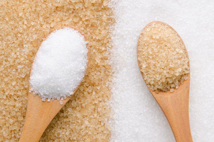 Ilustrasi gula putih dan gula coklat