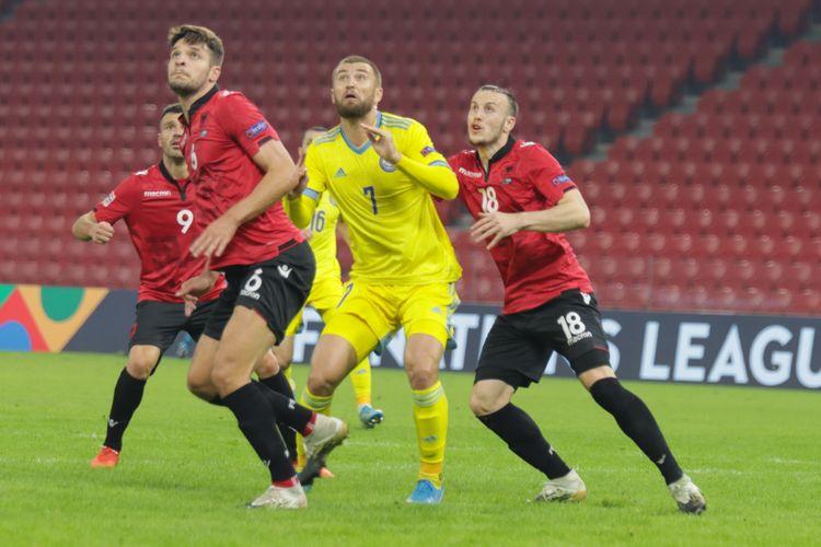 timnas Kazakhstan saat bertandang ke markas Albania dalam lanjutan matchday 5 UEFA Nations League Grup C4