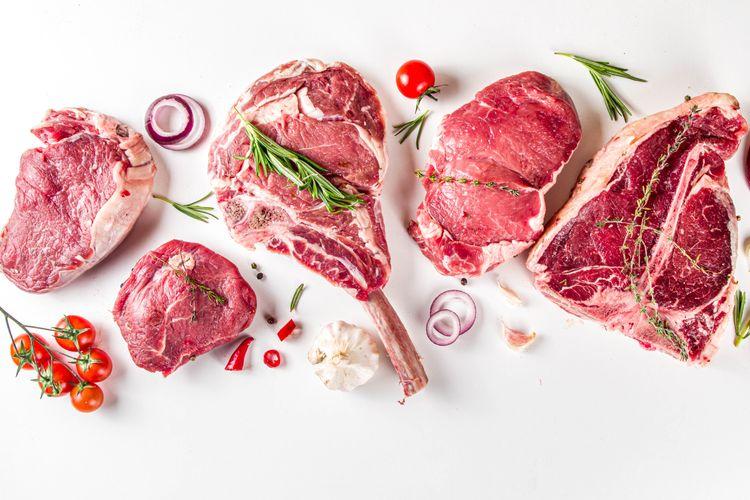 ilustrasi macam-macam potongan daging sapi.