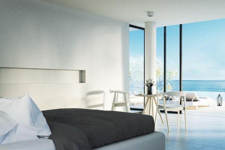 Ilustrasi hunian dengan pemandangan pantai yang bisa dilihat lewat jendela