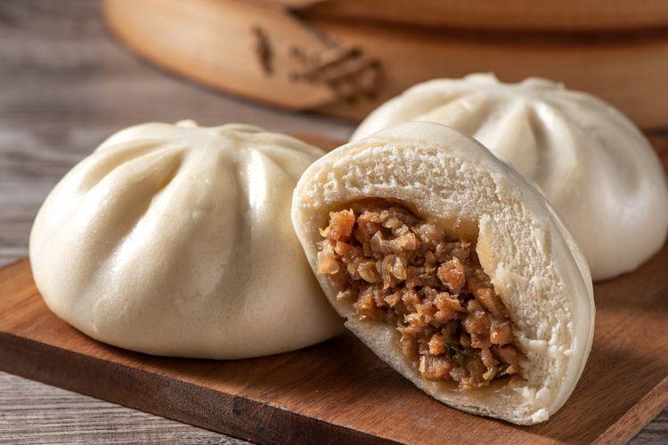 Ilustrasi bakpao, roti kukus khas China.